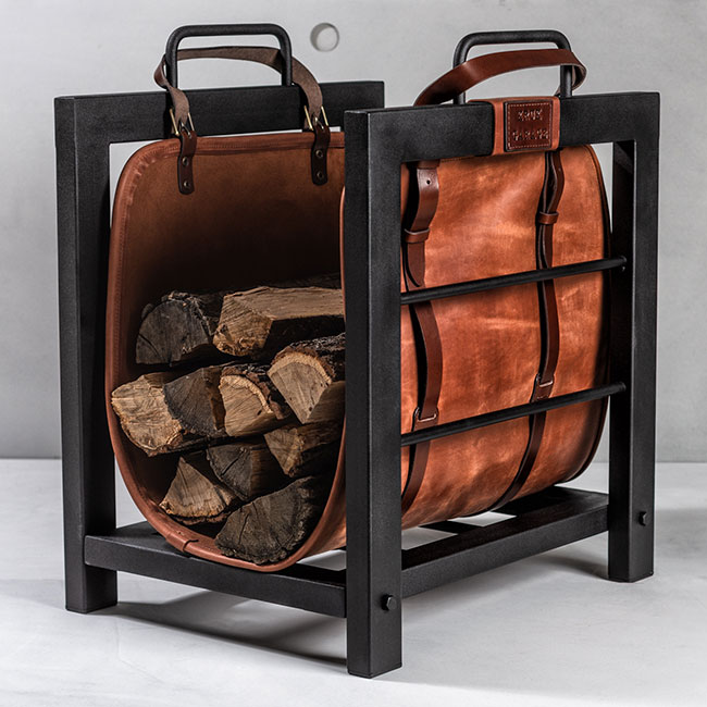 Leather Log Bag and Wrought Iron Log Basket
